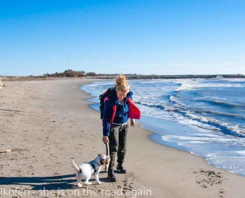 zeigt eine junge Frau und einen Terrier an einem winterlichen Strand