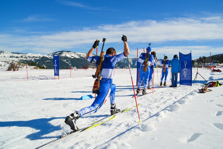 Biathlon Weltcup Oberhof - zeigt einen Sportler der sich aufwärmt