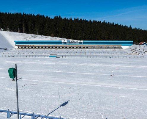 zeigt den Schießstand an der Skiarena Oberhof