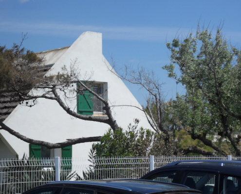 zeigt ein Haus in der Camargue