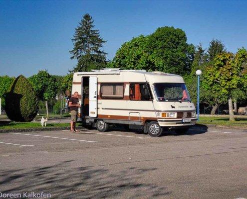 Wohnmobil, Mann und Hund am Rastplatz