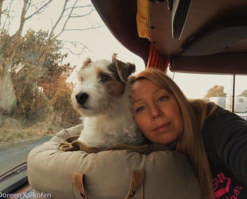 Hund und Frau im Führerhaus vom Wohnmobil